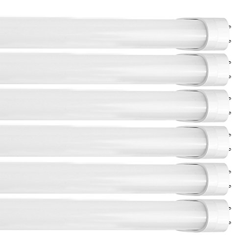 6 Pack - Hykolity 4FT T8 LED Tube Light 18W (40W Equivalent) 2160LM Shop Lights, Works WITH or without a Ballast, 4000K, UL Listed and DLC Qualified, T10 T12 Fluorescent Tubes Replacement
