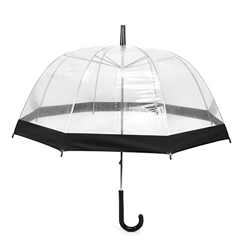 Clear Black Bubble Umbrella with Windproof Dome - Transparent Umbrella for Adults
