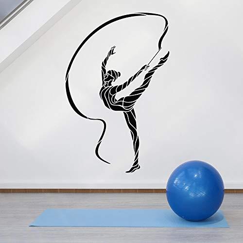 Calcomanía de pared abstracta gimnasia rítmica deporte chica vinilo ventana pegatina atleta chica dormitorio estadio Interior Art Deco