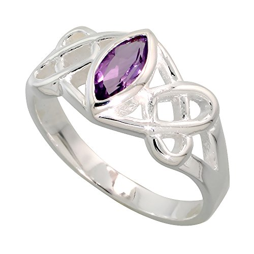 Sterling Silver Celtic Motherhood Knot Ring with Natural Amethyst, 3/8 inch Wide, Size 7