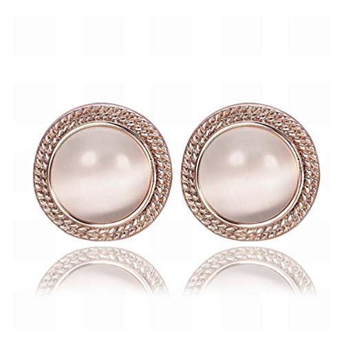Green Rose Gold Round Fancy Cat's Eye Ear Studs/Anti-allergic/Crystal Transparent/Crystal Element Earrings/Small and Exquisite,Colour:A Bracelets Earrings Rings Necklaces (Color : A)