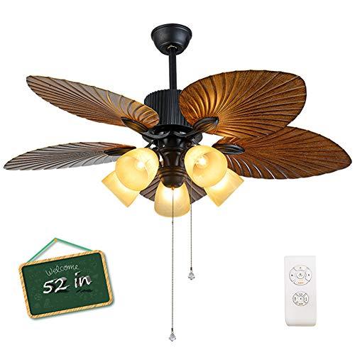 NAF Deckenventilator mit Lichtern 132 cm Elegant Dekorativ Bronze umkehrbaren Flügeln 3-Gang Zugschalter/Fernbedienung/Wandschalter 10/20 cm Fallstangen
