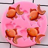FGHHT Moldes de Silicona de Pescado 3D DIY Cupcake Topper Fondant Herramientas de decoración de Pasteles joyería Resina Molde de Arcilla Dulces moldes de Pasta de Goma de Chocolate