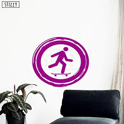 mlpnko Wandtattoo Skateboard Junge Schlafzimmer Dekoration Sport Wandaufkleber Teenager Kinderzimmer Vinyl Dekoration Wandbild 47X42cm