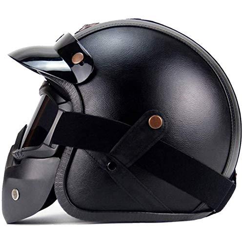 CZLWZZD Motorrad-Halbhelm mit Offenem Gesicht,Fahrrad-Rollerhelm DOT-Zertifizierung für Männer und Frauen Schwarze Schutzschale Persönlichkeit Halber Helm