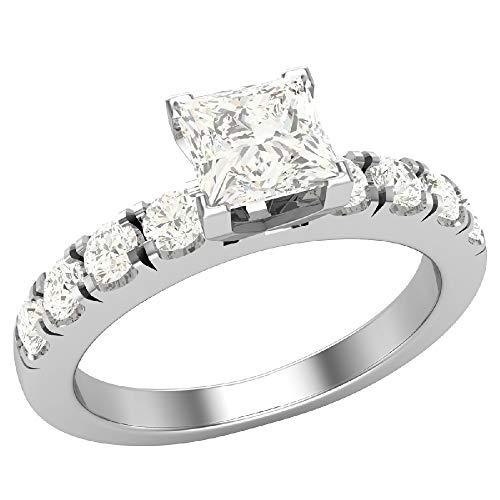 Glitz Design Mujer Niños Hombre Unisex oro 14 quilates (585) oro blanco 14 quilates (585) talla princesa round-brilliant-shape Diamond