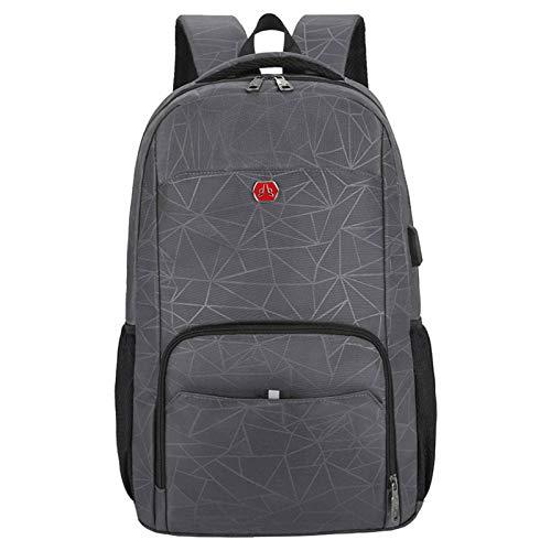 N-B Outdoor Mountaineering Bag USB Charging Computer Bag Business Bag Leisure Travel Bag Waterproof Backpack Student School Bag Dark Gray Blue Black