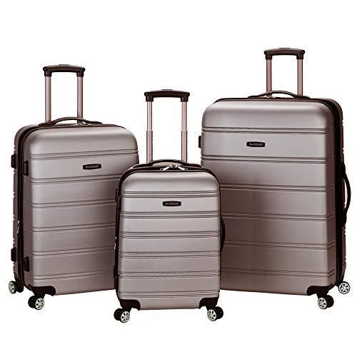 Rockland Melbourne Hardside Expandable Spinner Wheel Luggage, Silver, 3-Piece Set (20/24/28)