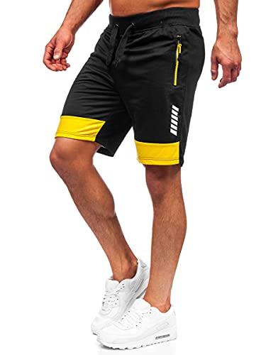 BOLF Hombre Pantalón Corto Deportivos de Algodón Shorts Básicos Pantalón Corto de Fitness Print Entrenamiento Gimnasio Deporte Outdoor Ocio Estilo Deportivo K10053 Negro M [7G7]