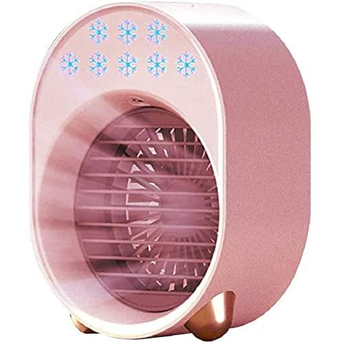 Refrigerador de aire portátil Mini USB 3 en 1 humidificador de aire acondicionado de ventilador purificador de aire acondicionado de aire de refrigeración de aire de escritorio en el hogar-pink