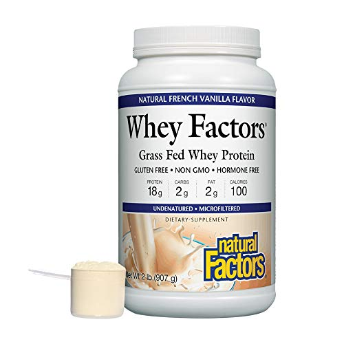 Whey Factors by Natural Factors, Grass Fed Whey Protein Concentrate, Aids Muscle Development and Immune Health, Gluten Free, French Vanilla, 2 lbs (34 servings)