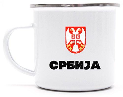 Wappen Srbija Belgrad Länder bedruckte Metalltasse Emaille Camping Tasse mit Spruch Motiv Flagge Serbien, Größe: onesize,weiß/silber