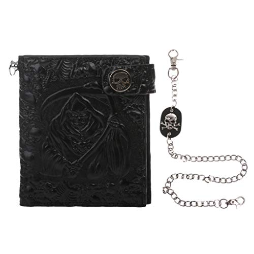 Sheuiossry Vintage Skull Leather Wallet with Anti Theft Chain Men Bifold ID Credit Card Holder Durable Security Billfolds for Men