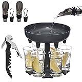 Ragui 6 Shot Glass Dispenser and Holder (Glasses Included) with 2 Wine Aerators, Bottle Stopper, and Liquor Pourer,1 Wine Opener, Shot Buddy Dispenser for Party Hosting, Drinking Games Shot dispenser