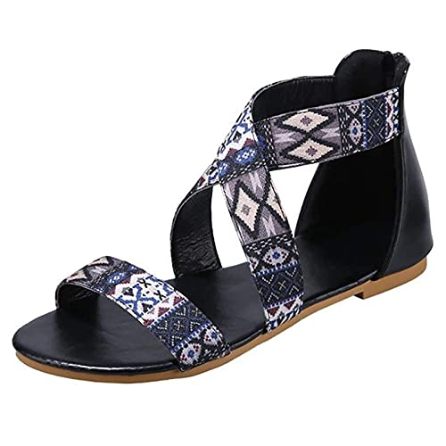 CYQ Lady Shoes Flat Soft Bottom Sandalias Antideslizantes con Punta Redonda Flip-Flop, Moda para Mujer Zapatos Casuales Sandalias de Ocio al Aire Libre Transpirables Zapatillas
