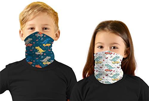 Toddler Boys Face Ski Mask Hiking Bandanas Sport Neck Gaiter Sun Mask Scarf for Litte Girl Dinosaur
