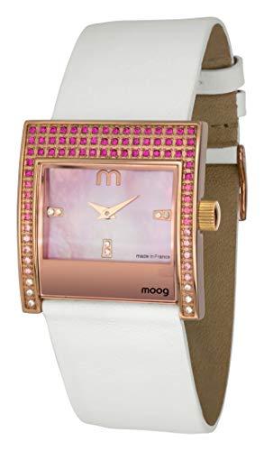Moog Paris Champs Elysées Reloj para Mujer con Esfera Nácar Rosa, Correa Blanca de Piel Genuina y Cristales Swarovski - M44792-007