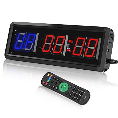 SEESII Gym Timer Stopwatch Clock with Remote, Digital Countdown Timer Crossfit Clock,LED Interval Timer Clock for Home Gym Workout, Kitchen Timer, Adjustable Brightness (Two Blue+Four Red)