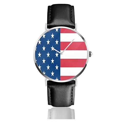 Patriotische USA-Flagge, klassisch, lässig, modisch, Quarzuhr, Edelstahl-Lederarmband