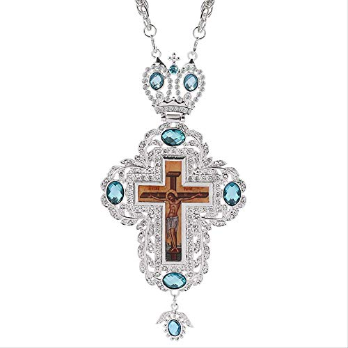 Christ Crucifix Silver Color Cross Russian Orthodox Priest Prays Jewelry Religious Christian Cross Male Necklace Pendant