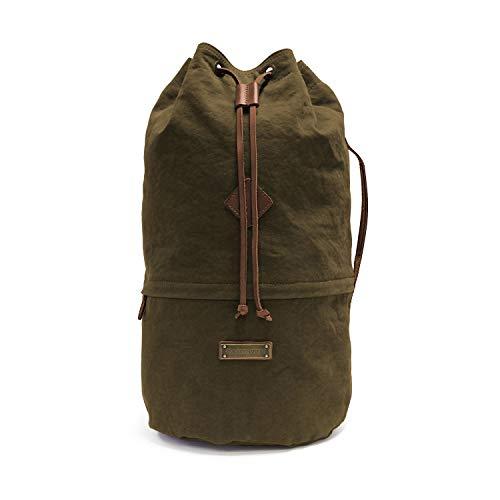 DRAKENSBERG Light Duffel Bag - Kleiner Leichter Seesack und Rucksack im Vintage-Marine-Design, handgemacht in Premium-Qualität, 40L, Canvas und Leder, Olivgrün, DR00108