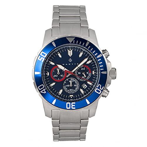 Nautis Dive Chrono 500 Reloj de pulsera con cronógrafo, Plata/Plata/Negro/Blanco SKU: 17065-D,
