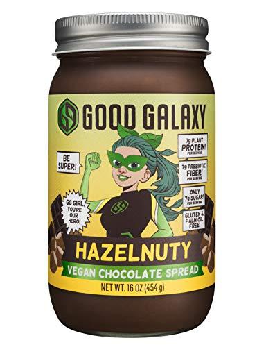 Good Galaxy, Vegan Chocolate Hazelnut Spread, Plant Based Protein, No Palm Oil, Gluten Free, No Artificial Sweetener, 16 oz.