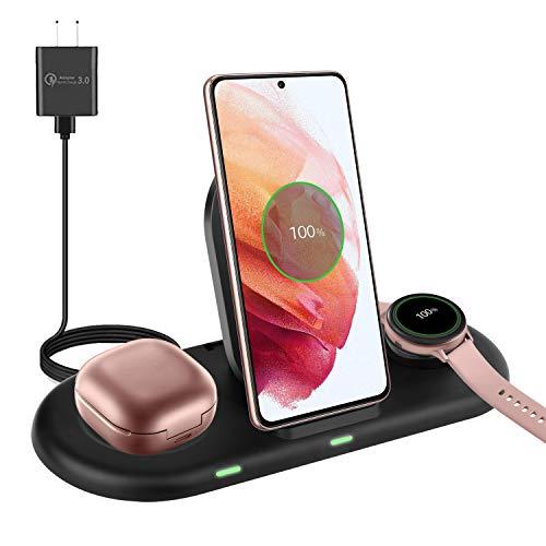 Stazione di ricarica wireless 3 in 1 compatibile con Samsung Galaxy S21+ S20 S10 Note20 Note10, Samsung Galaxy Watch Active 2 S3 S4, Galaxy Buds Pro