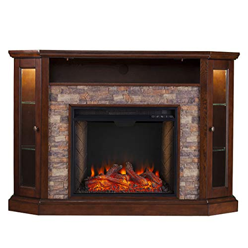 SEI Furniture Redden Faux Stone Convertible Alexa-Enabled Electric Media Storage Corner Fireplace, Espresso