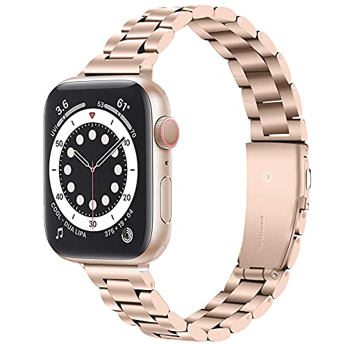 Miimall Watch Band Compatible with Apple Watch Series 1/2/3/4/5/6/SE 40mm 38mm, [Ultra-Thin] Women's Stainless Steel Bracelet for iWatch Series 1/2/3/4/5/6 1.496 40 cm. 5 in Rose Gold