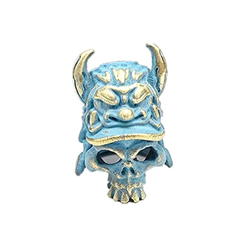 KTSM-Stop-T Creatieve DIY - 5 piezas de latón con cabeza de calavera agrietada para casco de guerrero, cuchillo, llavero, colgante de cuerda de paracaídas, para hacer joyas (color: latón azul)