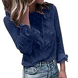 VJGOAL Femmes Dentelle Blouse Dames Casual Dentelle Polka Dot O Cou T-Shirt à Manches Longues Tops Blouse Manteau Femme Femme Chemise (FR-40/CN-S, C-a-Bleu Marin)