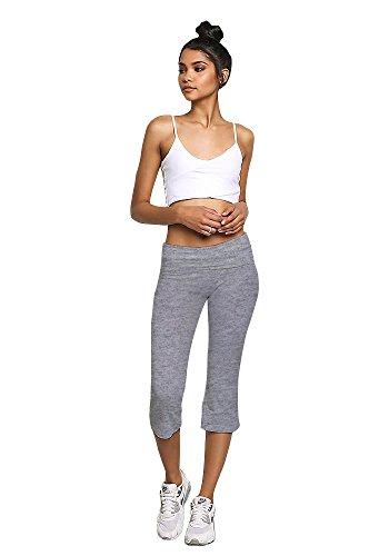 Emmalise Women's Fold Over Low Rise Cotton Blend Yoga Capri Pants