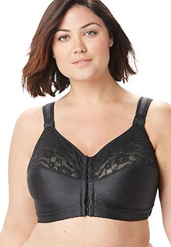 Comfort Choice Women's Plus Size The Easy Enhancer&Reg Cotton Posture Bra - 54 G, Black