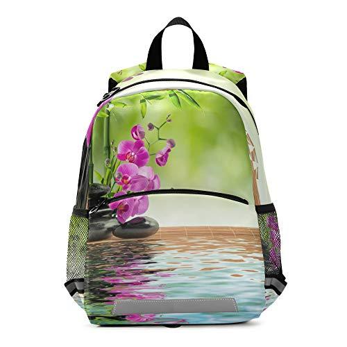 RELEESSS Spa Zen Stone Mochila para niños con correa en el pecho, mochila escolar para preescolar, mochila para niños y niñas