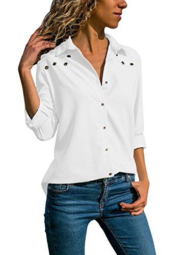 Aleumdr Bluse Damen Langarm hemdbluse V Ausschnitt Langarmshirt einfarbig Business mit Knopfleiste Hemd Oberteile Herbst und Sommer Revers Kragen- Gr. Small (EU36-38), Weiß