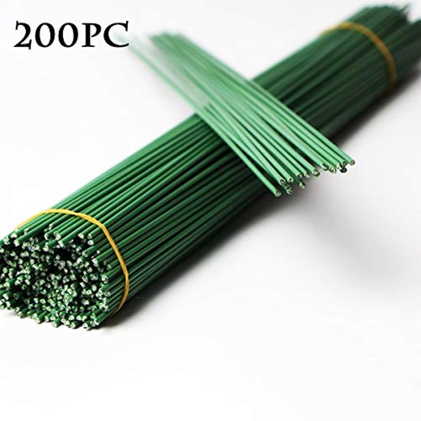 200 Pcs Wrapped 18 Gauge Floral Wire Stems for Bouquets, Flower Arrangements and DIY Crafts, Green, 11.4