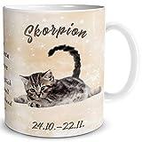 TRIOSK Tasse Katze lustig mit Spruch Sternzeichen Skorpion Katzenmotiv Geschenk für Katzenliebhaber Geburtstag Frauen Freundin