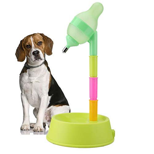 Dispensador de Agua para Mascotas Gato de Mascotas Gato de pie Dispensador de Agua de Gato Perro de pie Tazón de Fuente de Agua de Altura Ajustable Botella de Bebida con Boquilla antigoteo(Verde)