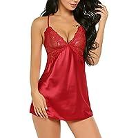 Avidlove Mujer Pijama Verano Encaje Floral Cuello V Transparente(Rojo M)