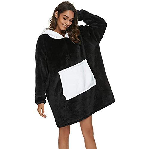 Whycat Panda Hoodie Sweatshirt Blanket, Oversized Super Soft Sherpa Fleece Warm Comfortable Giant Hoody, Fit for Men Women Teens(Black,M)