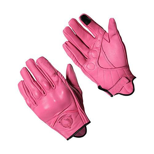 Guantes de Moto deCuero paraMujerpara Hombre Guantes de Carreras de Motocross Deportes de Verano Rosa Negro-Pink, s