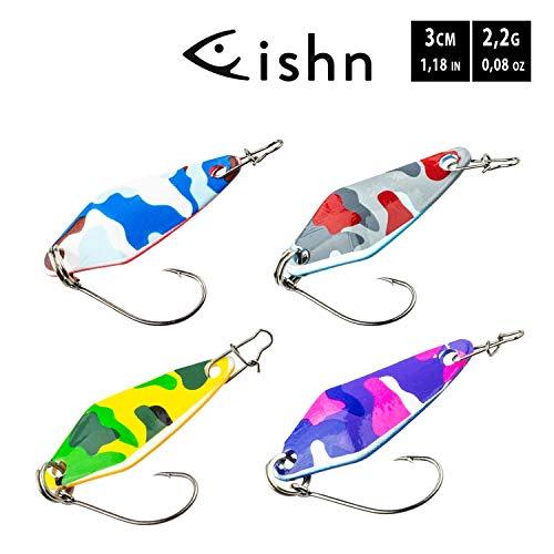 FISHN Spoon Set BLISSI 2,2gr, 3cm - Blinker/Spoon zum Angeln auf Forelle, Barsch, Saibling - Spinnfischen (4-teilig)