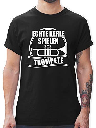 Instrumente - Echte Kerle Spielen Trompete - L - Schwarz - trompete Geschenkideen - L190 - Tshirt Herren und Männer T-Shirts