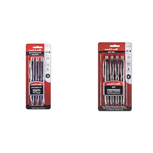 Uni-Ball Jetstream Retractable Ball Point Pens,0.7mm, Black Ink, 3-Count & 207 Retractable Gel Pens, Medium Point (0.7mm), Black, 4 Count