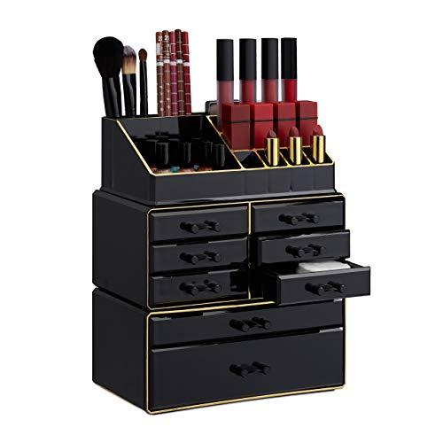 Relaxdays, Nero/Oro Organizer Make-Up con Cassetti, Porta-Trucchi e Accessori, Acrilico, 30 x 24 x 14 cm