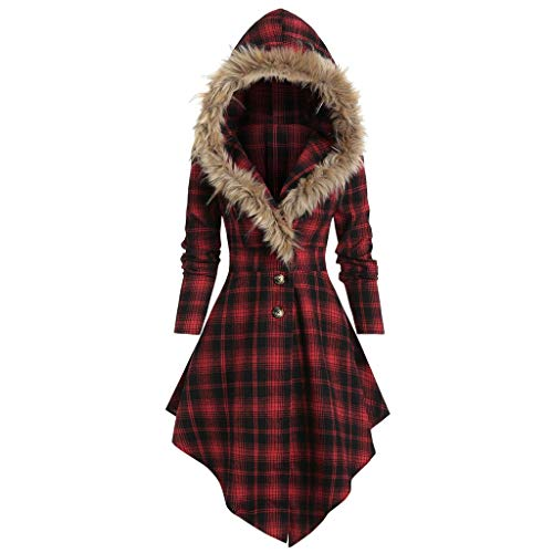 Why Choose Pumsun Women's Winter Warm Plush Hooded Coat Long Sleeve Button Plaid Printed Bandage Irr...