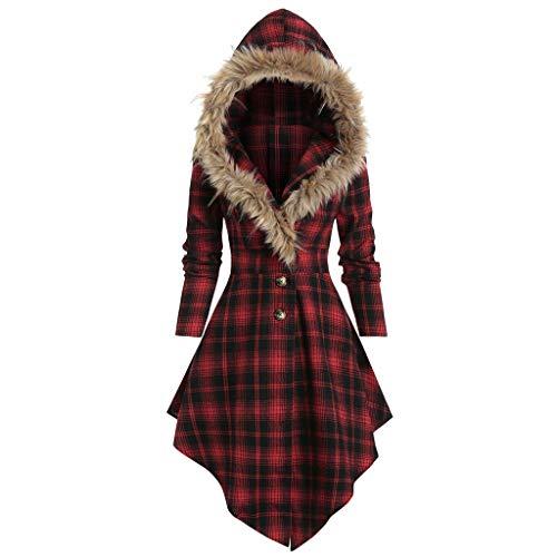E-Scenery 2019 Womens Hoodie Faux Fur Coat Warm Fashion Plus Size Plaid Longline Overcoat (L, Red_1)