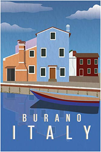 EzPosterPrints - Retro World Famous City Posters - Decorative, Vintage, Retro, Grunge Travel Poster Printing - Wall Art Print for Home Office - BURANO, Italy - 24X36 inches