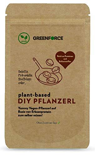 GREENFORCE DIY Pflanzerl | Fertigmix für 5-6 rein pflanzliche DIY Patties auf Basis von Erbsenprotein | 41% Protein, 15% Ballaststoffe | nur Wasser & Öl zugeben | ohne Soja | 150g